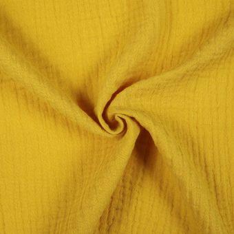 Tissu double gaze coton jaune moutarde