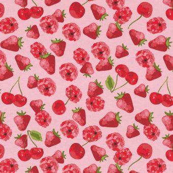 Tissu ottoman fraises et coquelicots rose
