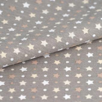 Tissu PUL taupe étoiles
