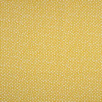 Tissu popeline bio à motifs cercles moutarde