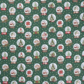 Tissu Noël coton Globe vert sapin