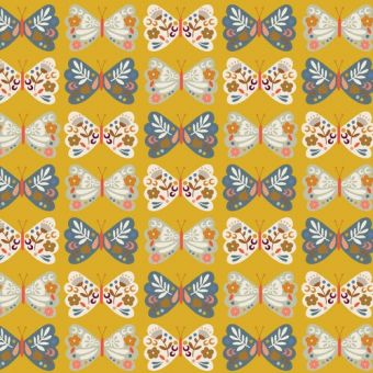 Tissu en velours côtelé Dashwood motifs papillons fleuris jaune
