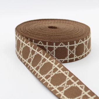 Ruban sangle motif losanges graphiques 38mm chocolat