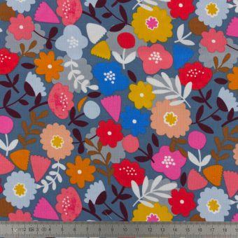 Tissu en velours côtelé Dashwood motifs fleurs graphiques bleu