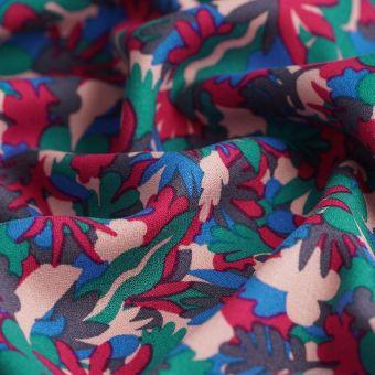 Tissu crêpe viscose feuillage multicolore