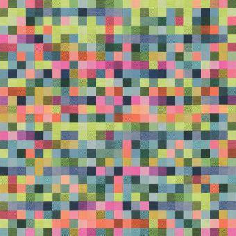 Tissu jacquard Géo carrés rose et vert fluo