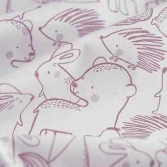 Tissu cretonne animaux gris