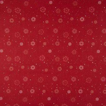 Tissu popeline coton rouge flocons