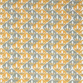 Tissu cretonne éventail jaune kaki