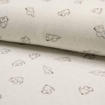 Tissu velours éponge écru motifs éléphants