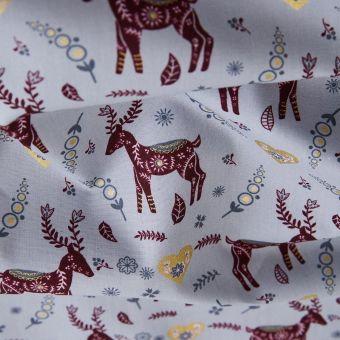 Tissu de noël cretonne rennes gris