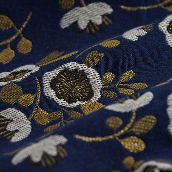 Tissu jacquard bleu fleurs