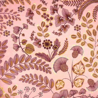 Tissu velours imprimé phœnix rose