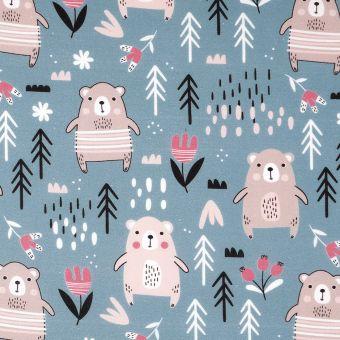 Tissu coton ours bleu