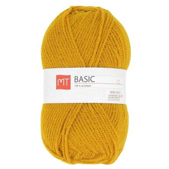 Pelote de fil à tricoter MT basic jaune moutarde