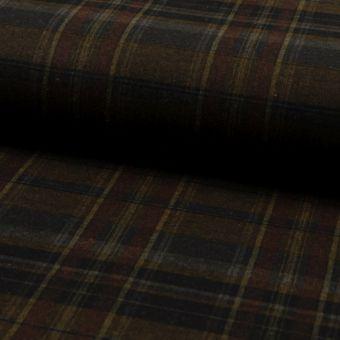 Tissu lainage extensible brossé carreaux bordeaux