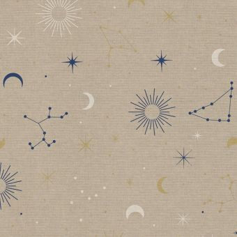 Tissu bachette effet lin motifs astraux