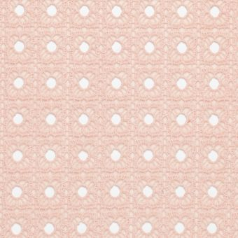 Tissu organza brodé fleurs carré rose