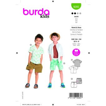 Patron Burda 9285 chemise + short de 4 à 9 ans