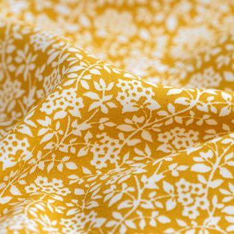 Tissu popeline Ecovero Laura écru moutarde