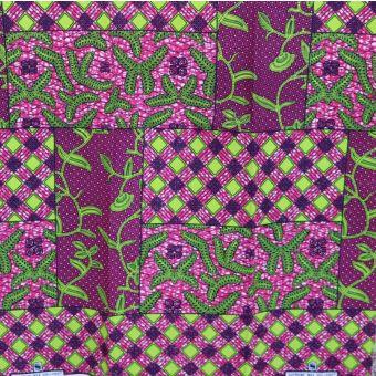 Tissu wax rose imprimés patchwork - Karabashop