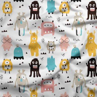 Tissu triple gaze coton bio monstres multicolores - Panda Love