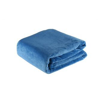 Plaid flanelle 125x150 bleu canard