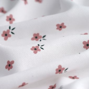 Tissu molleton sweat french terry blanc fleurs