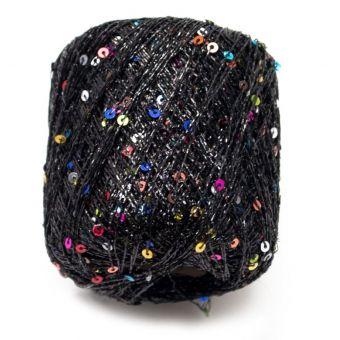 Pelote à tricoter brillante pluie d'étoiles noir  - Plassard