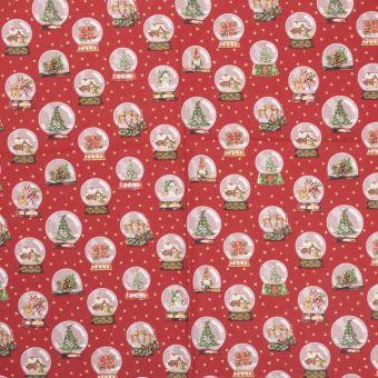 Tissu de Noël coton Globe rouge