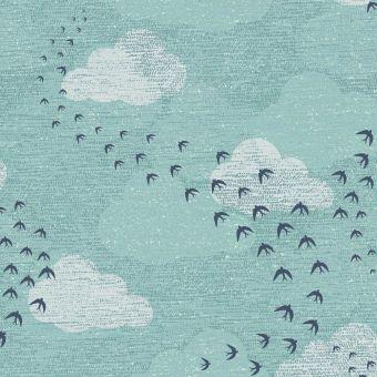 Tissus popeline de coton Dashwood motifs hirondelless bleu