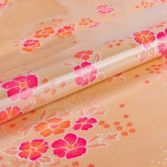 Tissu Petit Pan coton nude avec enduit brillant à motifs folsky bégonias rouges et fuschia