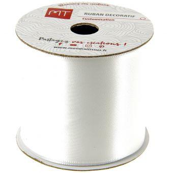 Bobine ruban satin blanc 50 mm