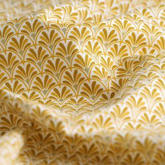 Tissu japonais éventails jaunes