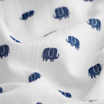 Tissu lange imprimé éléphants bleus