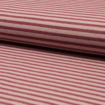 Tissu bengaline stretch en lin écru à rayures rouges