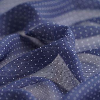 Tissu Voile polyester recyclé pois bleu et blanc