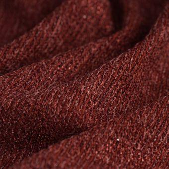 Tissu jersey pailleté polyester Foil couleur brique