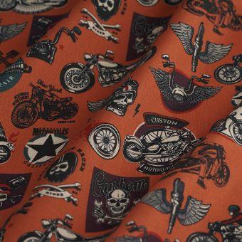 Tissu coton épais bikers marron