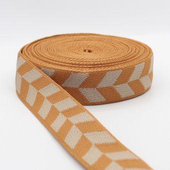 Ruban sangle motif damier flèche 36mm orange écru