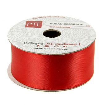 Bobine ruban satin rouge 25 mm