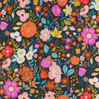 Tissu popeline de coton anthracite imprimés jardin luxuriant multicolore Dashwood Studio