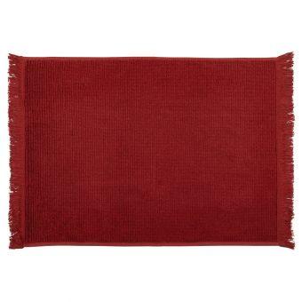 Tapis de bain à franges rouge
