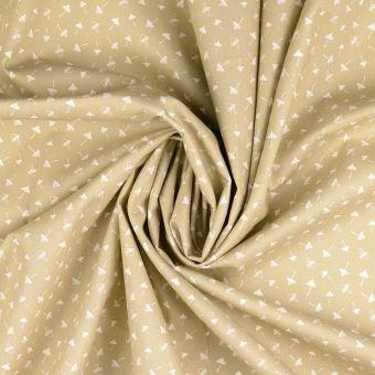 Tissu popeline de coton écru à motifs champignons