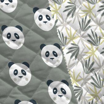 Tissu matelassé vert kakai panda et herbes