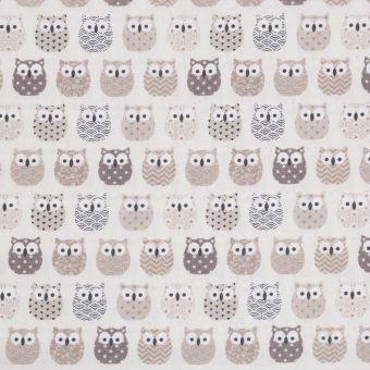 Tissu coton enduit mini hiboux beige