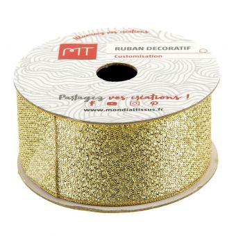 Bobine ruban brillant doré 26 mm