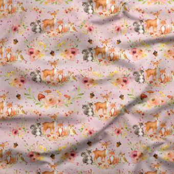 Tissu oxford pour chemise imperméable recyclé animaux forêt rose - La Panda Love Fabrics