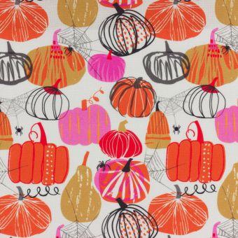 Tissu popeline de coton écru citrouilles dessinées Dashwood Studio