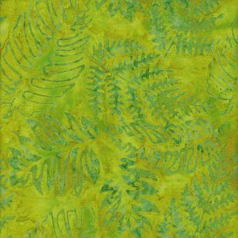 Tissu coton batik feuilles anis